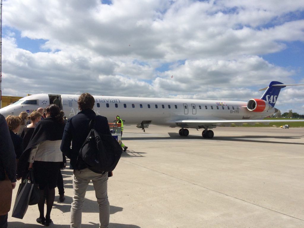 bombardier crj 900 of sas parked for boarding