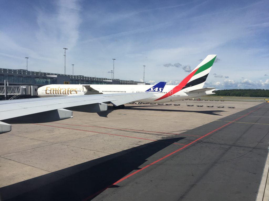 picture of emirates airlines parked