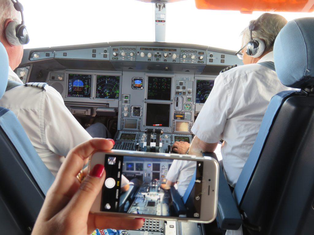 pilots in the cockpit