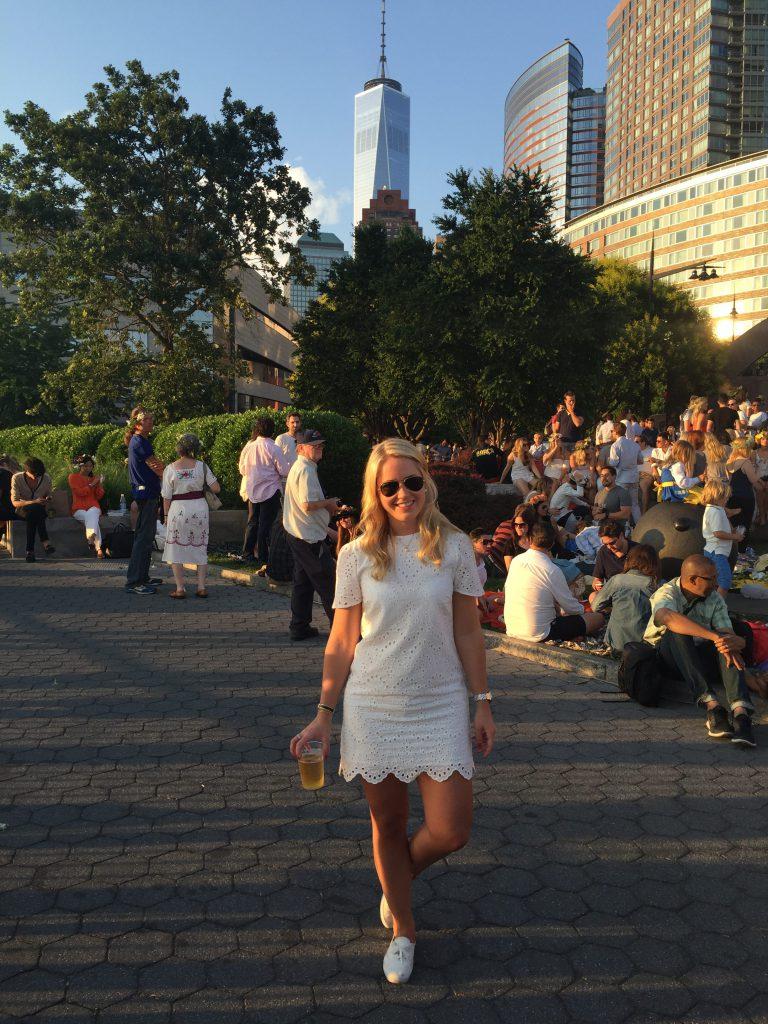 me celebrating midsummer at battery park in new york