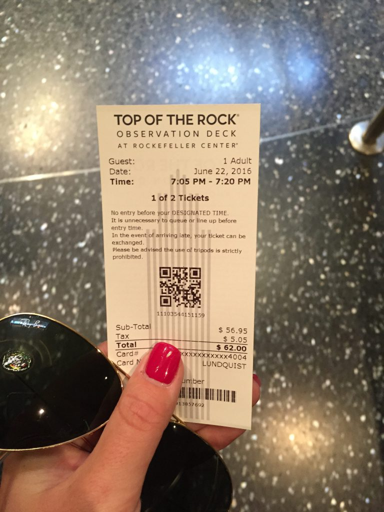 my ticket to the top of the rock