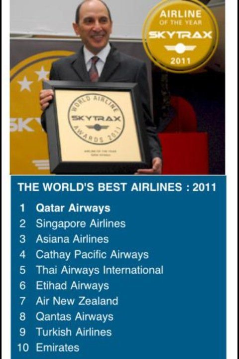 Skytrax best airlines list