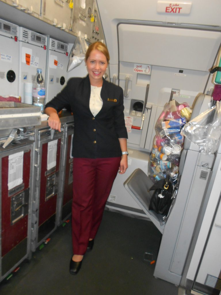 me in the galley of the plane
