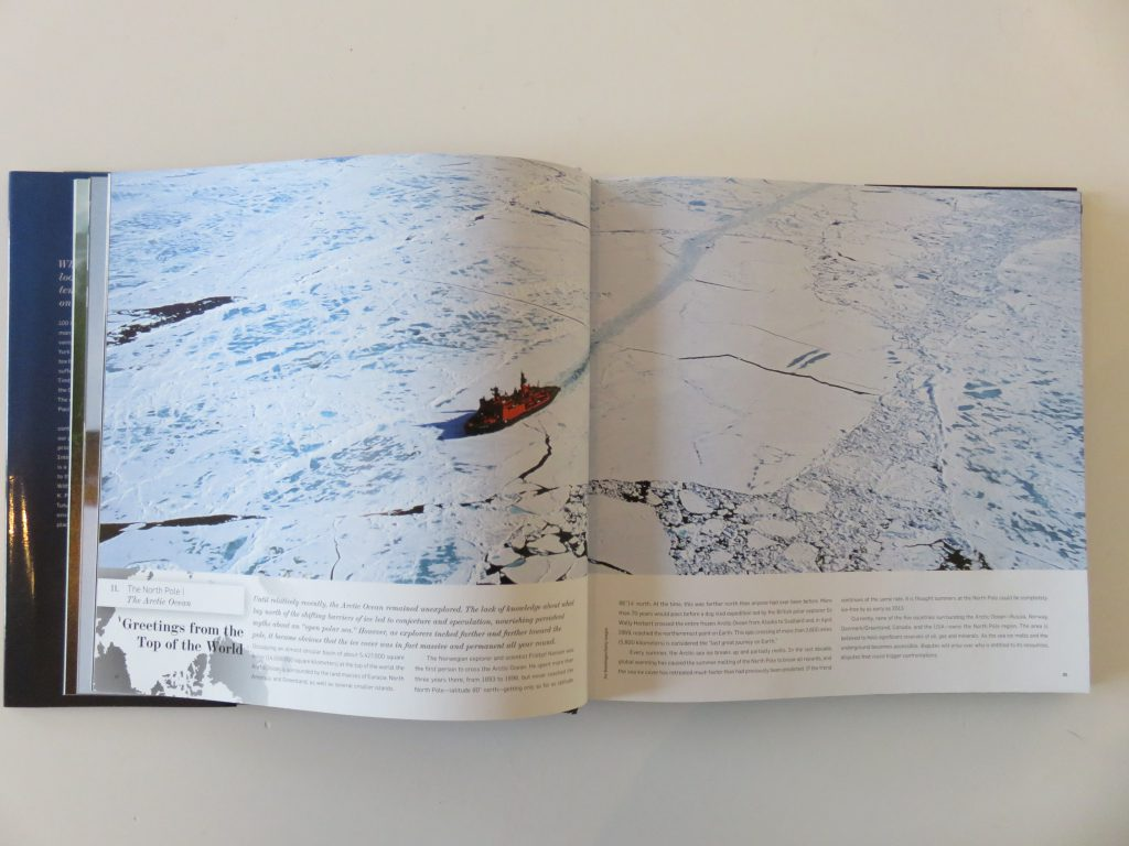 a book showing an image of the north pole