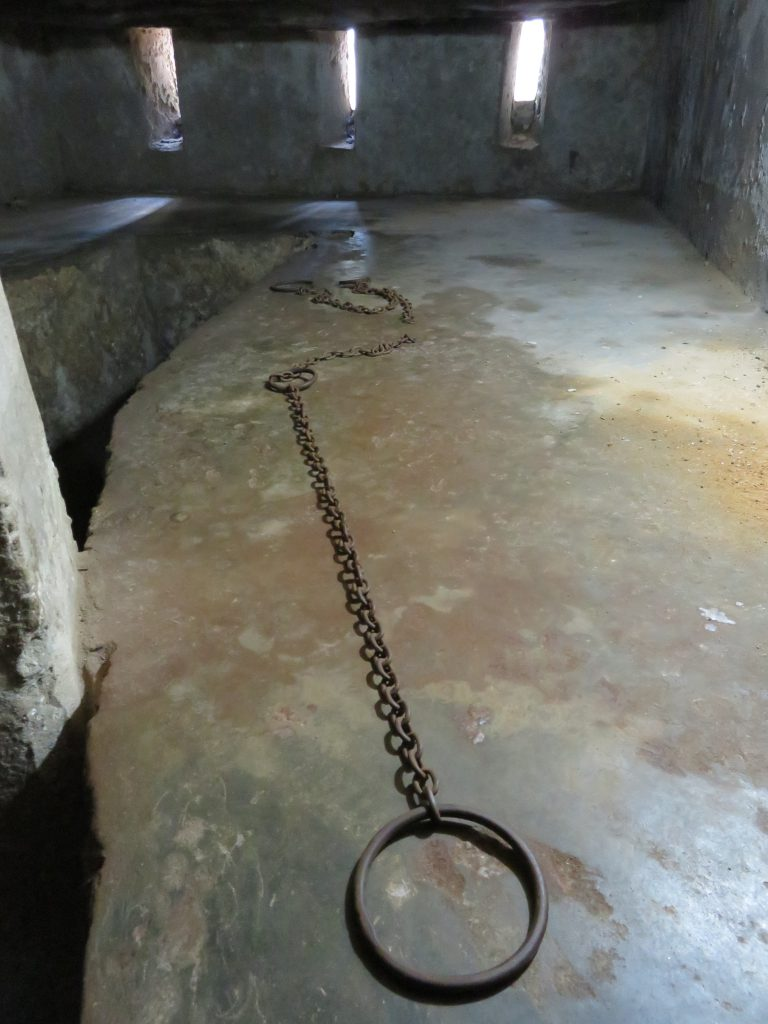chains on display used to hold slaves