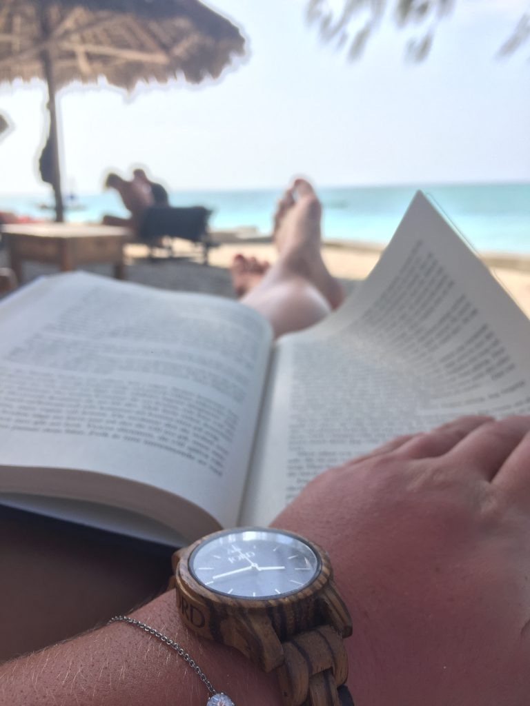 a picture of me wearing the watch at a beach