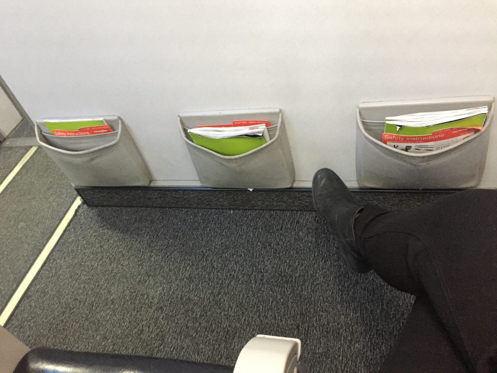 another picture of the leg room in premium economy