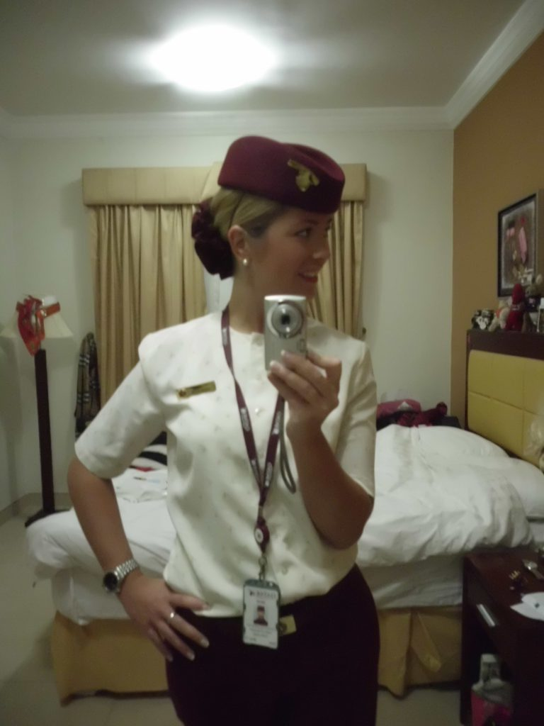 a picture of me in my uniform in my hotel room