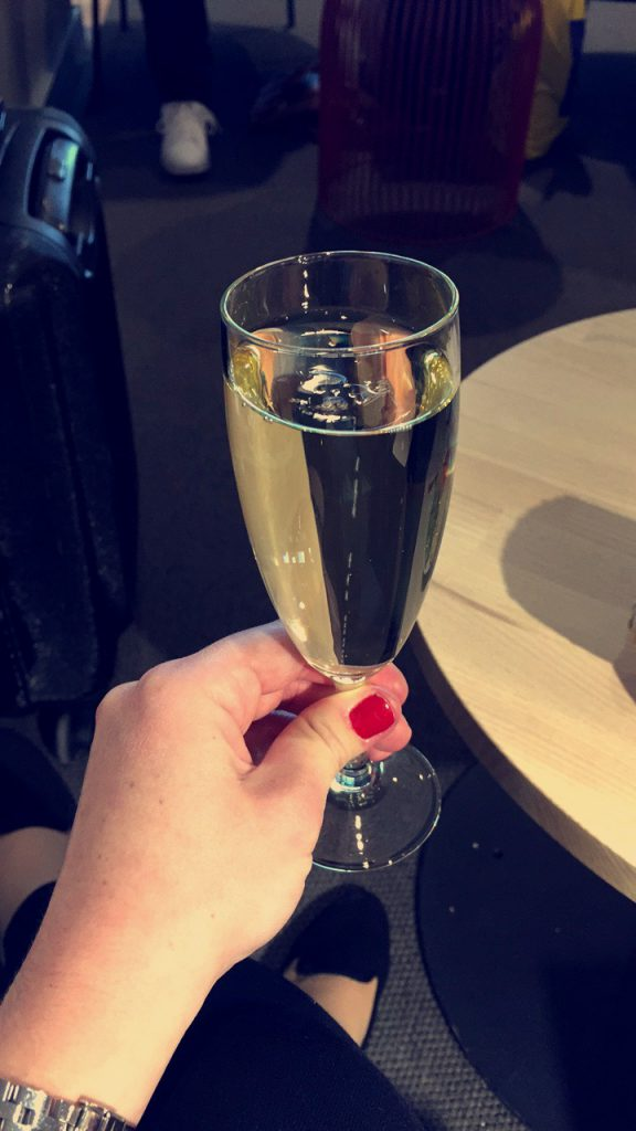 a picture of a glass of champagne in the lounge