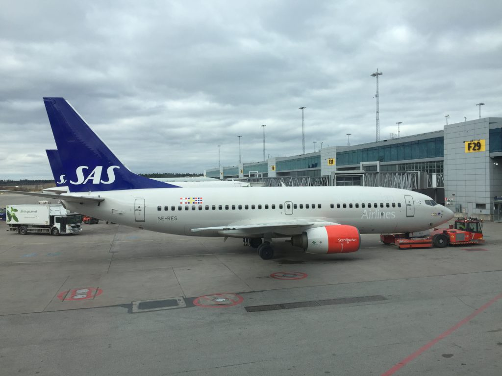 a picture of SAS planes parked in Arlanda