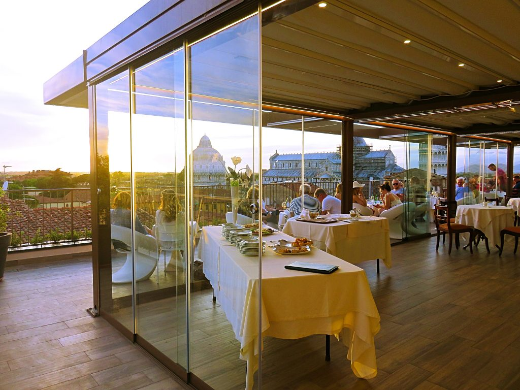 a picture of the interior of the rooftop restaurant