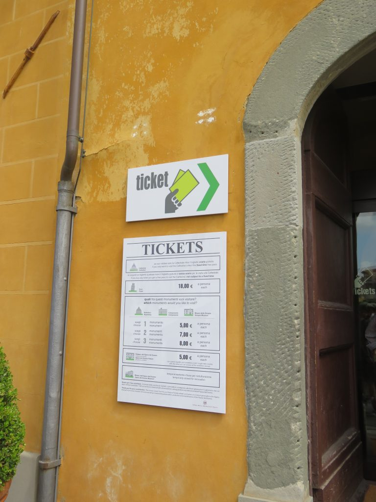 a picture of the sign for tickets to the tower