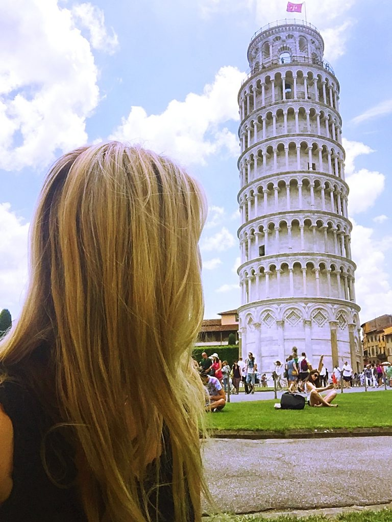 a picture of me looking at the tower