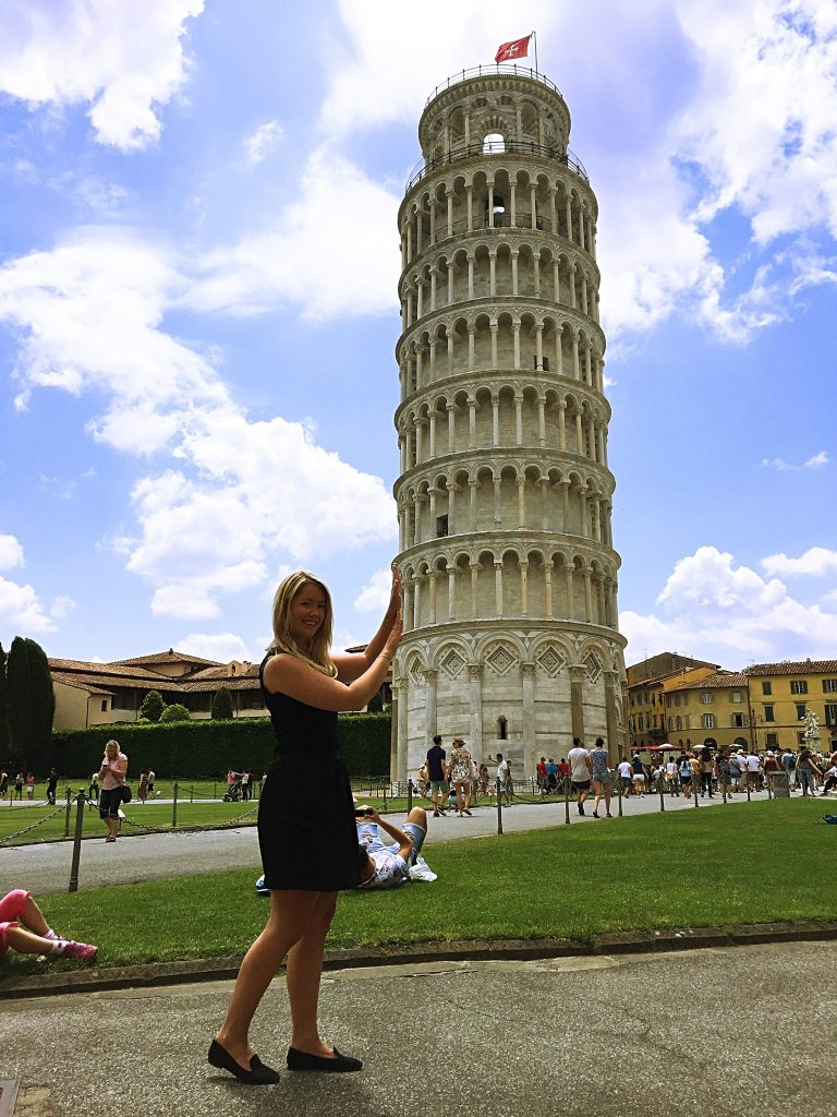a picture of me taking funny photo with the tower