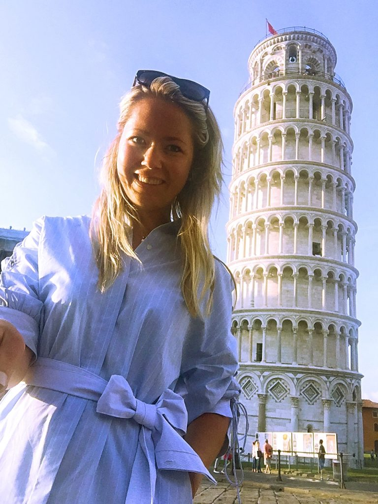 Another selfie at the leaning tower of Pisa