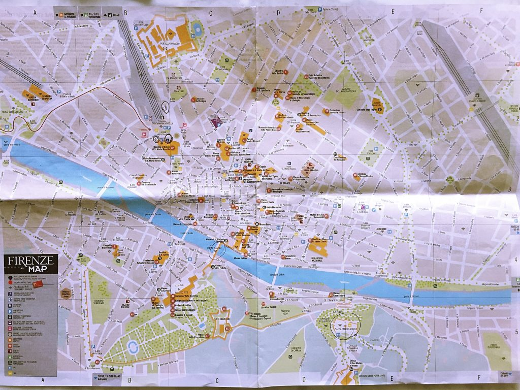 A picture of the map of Florence
