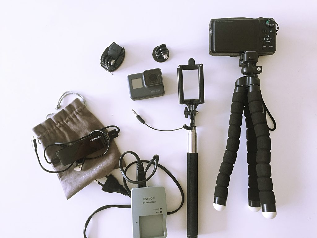A picture of all the gear I carry to take pictures