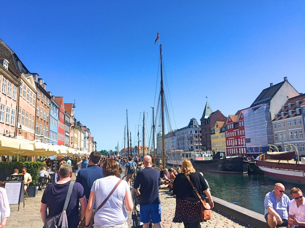A picture of tourists who are also copenhagen sightseeing