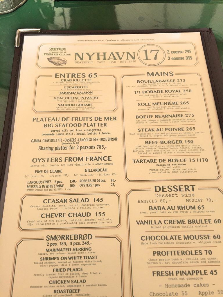 A picture of the menu of Nyhavn seventeen