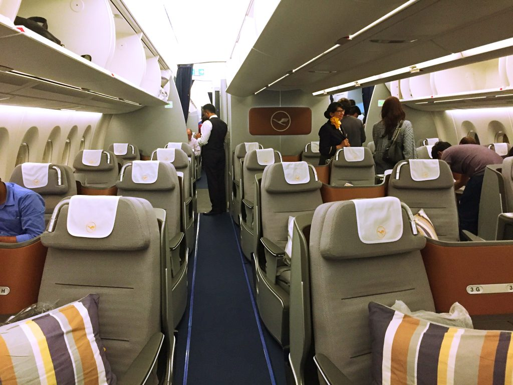 A picture of the front view of the business class cabin on A350