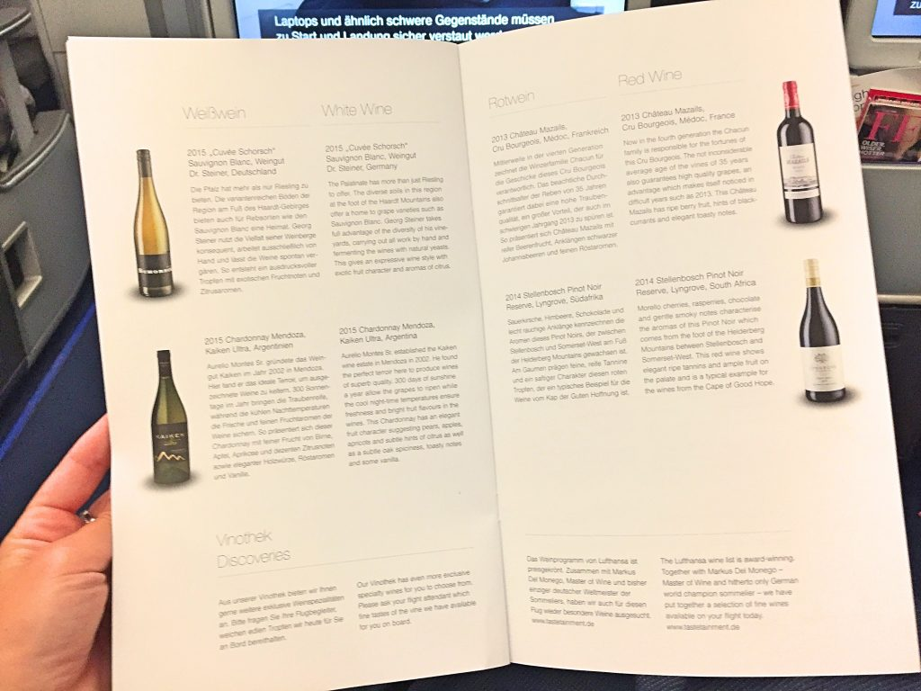 A picture of the menu for red and white wine