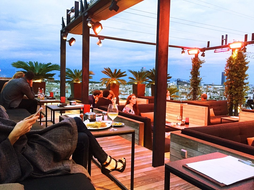 A picture of the seating at the Grand hotel Rooftop bars