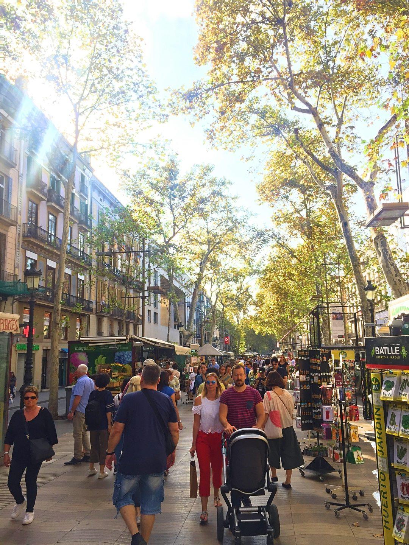 Tourists walking around at La Ramblas Barcelona