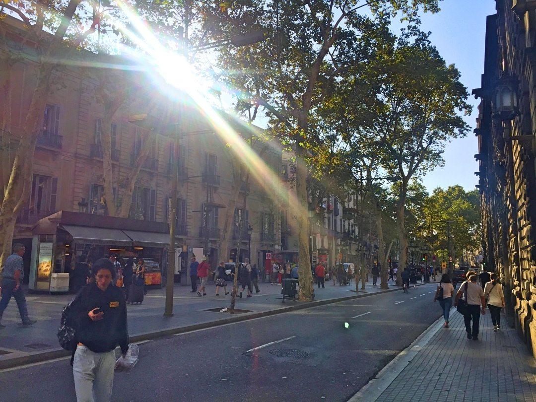 The sun shining on me at La Ramblas Barcelona