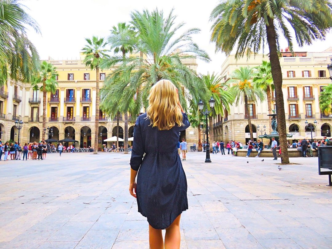 Me walking through the Barcelona Plaza square