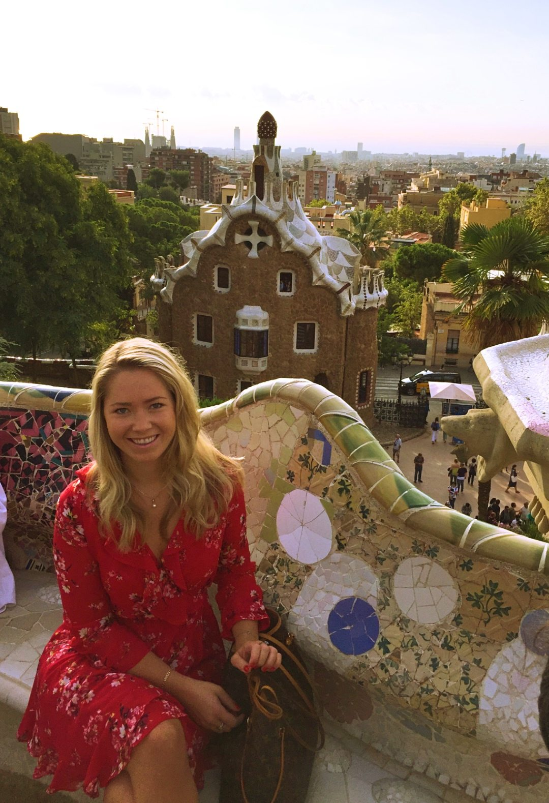 A picture of me sitting down to rest at Park Guell