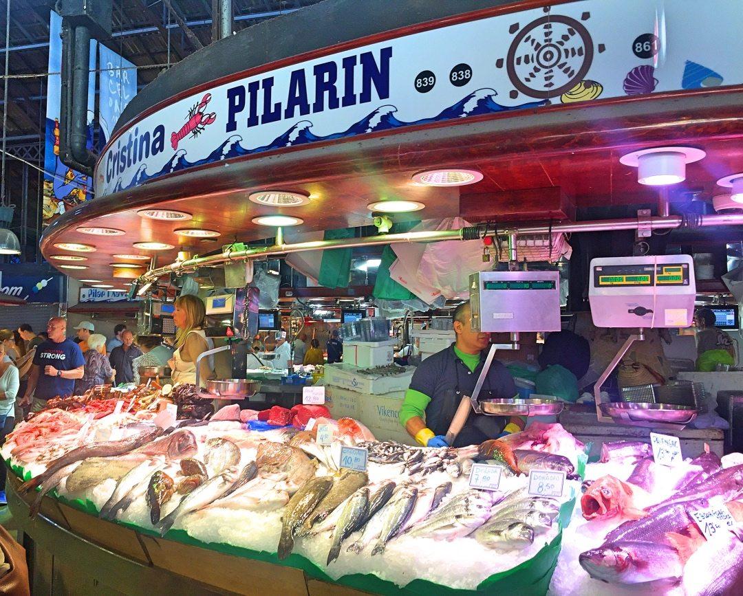 Fish market at La Boqueria Barcelona