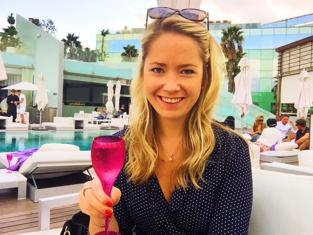 A picture of me having champagne at the W hotel Barcelona