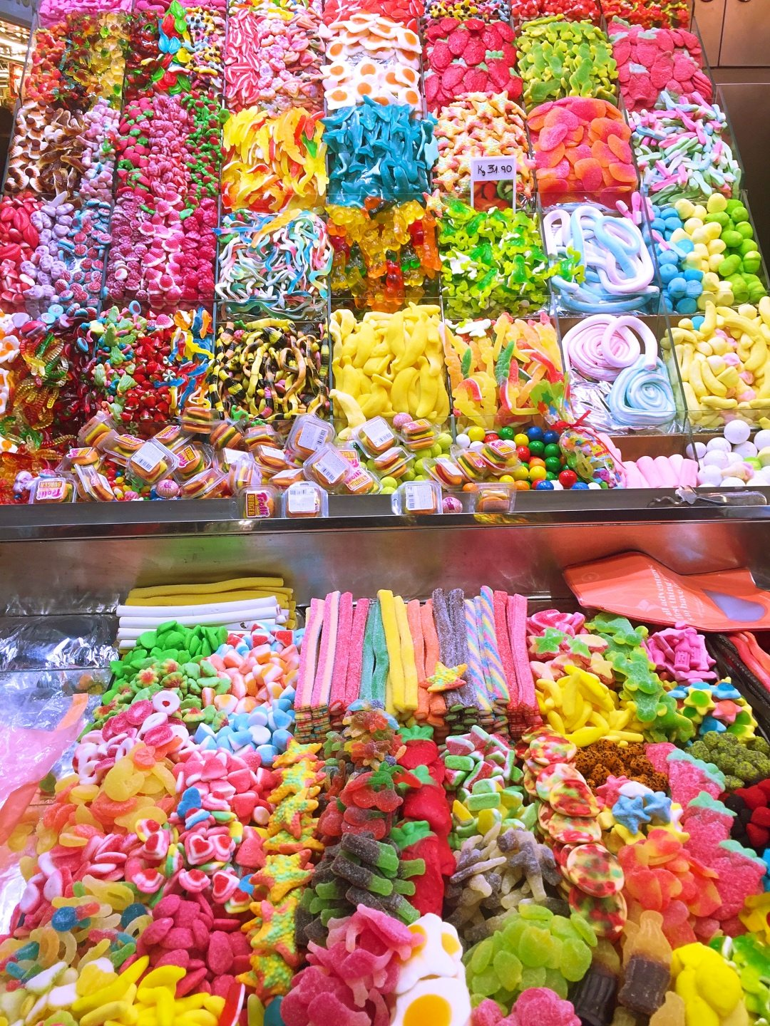 A lot of candy to buy at La Boqueria Barcelona