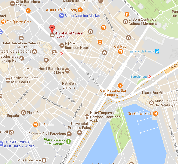 Screenshot of the map of Barcelona showing the location of the bar