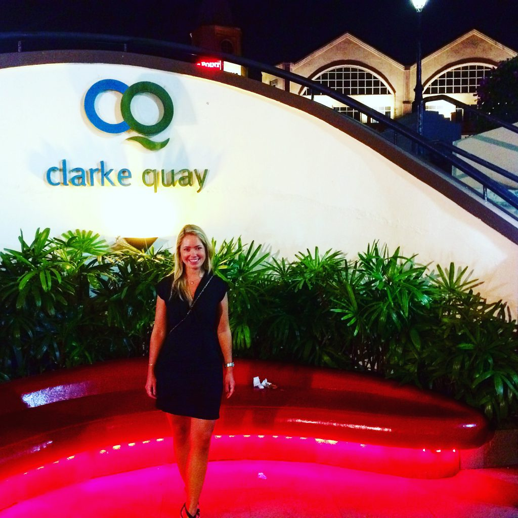 a picture of me at the entrance of Clark Quay