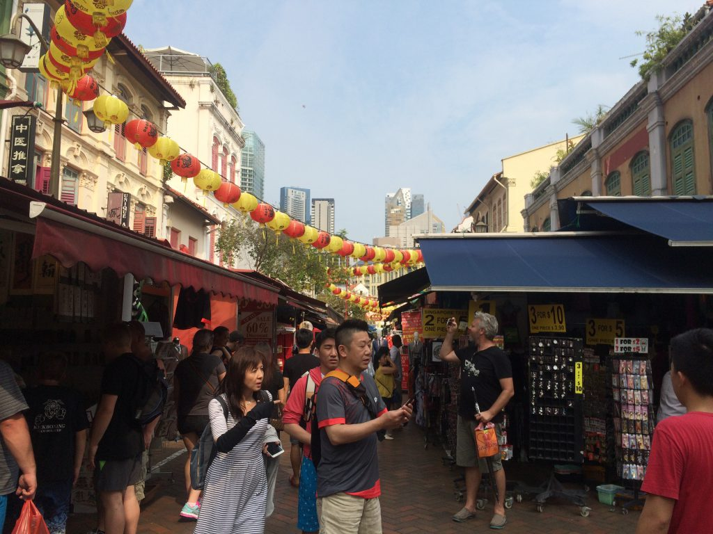 a picture of tourists in China Town