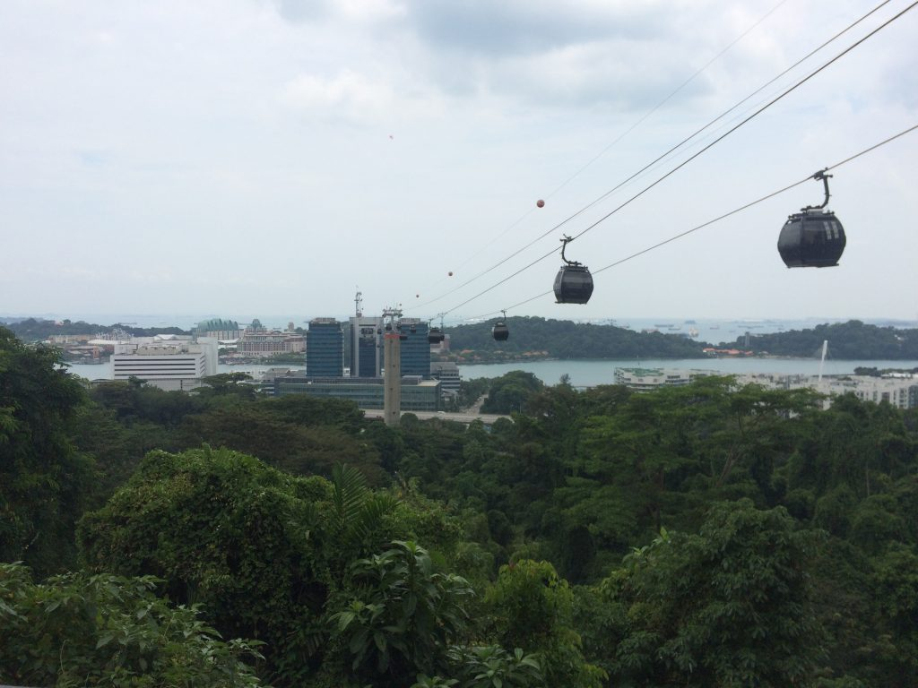 a picture of cable cars