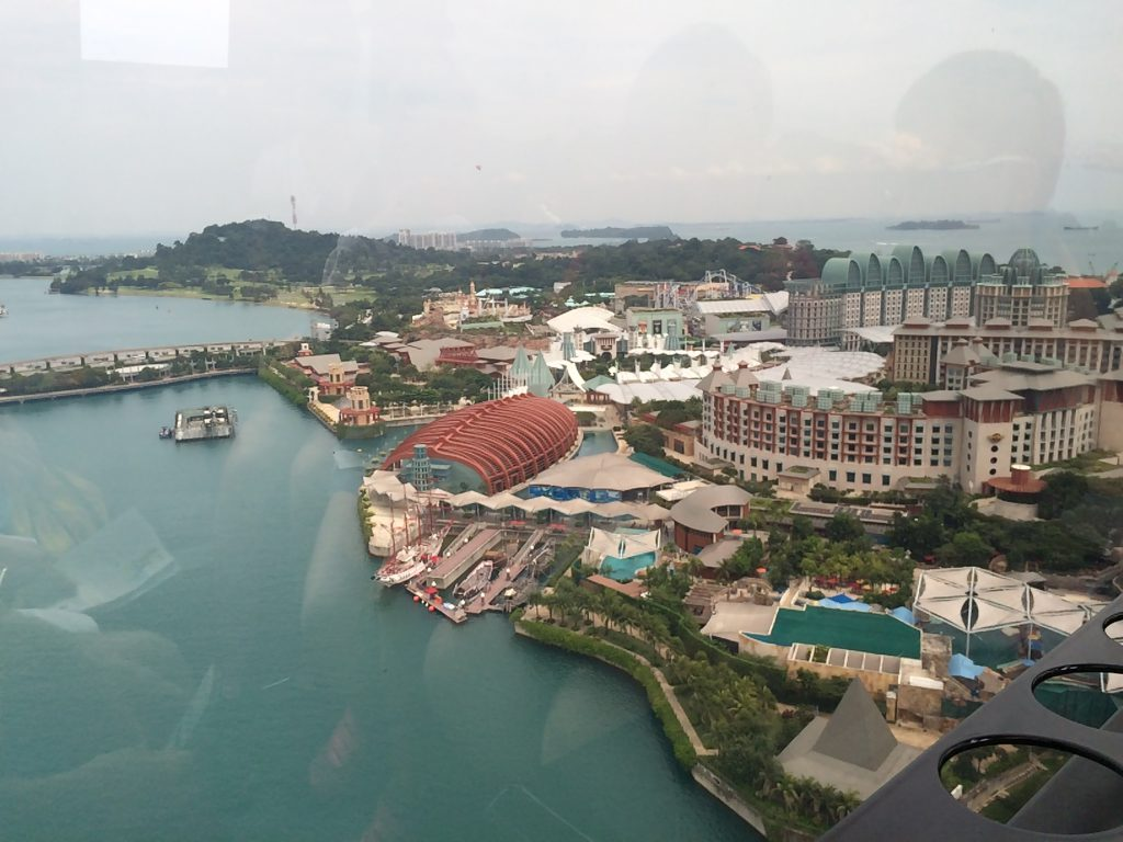 a picture of the view of Sentosa Island from the cable cars