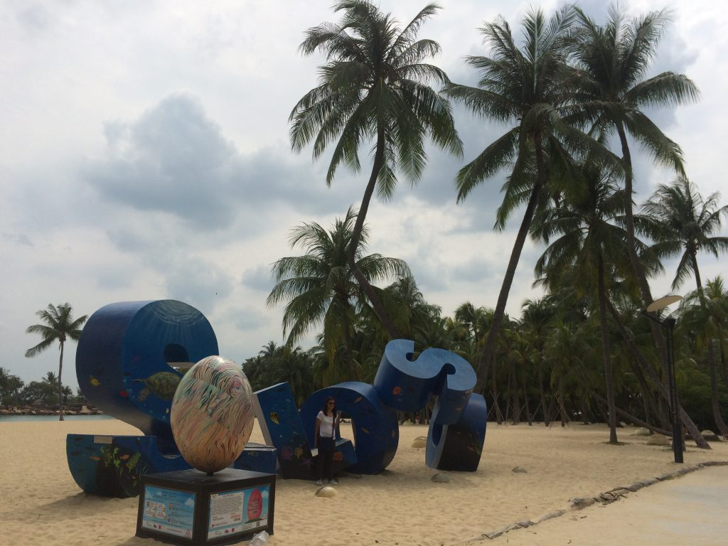 a picture of a sculpture at Sentosa Island