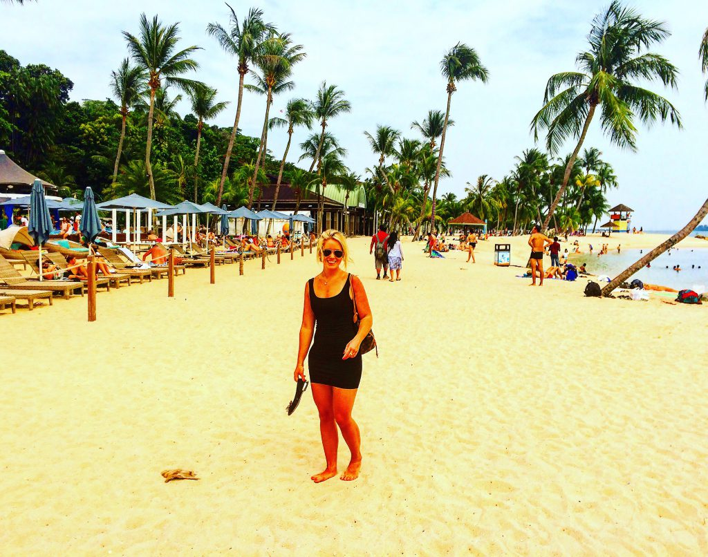 a picture of me at a beach in Sentosa Island
