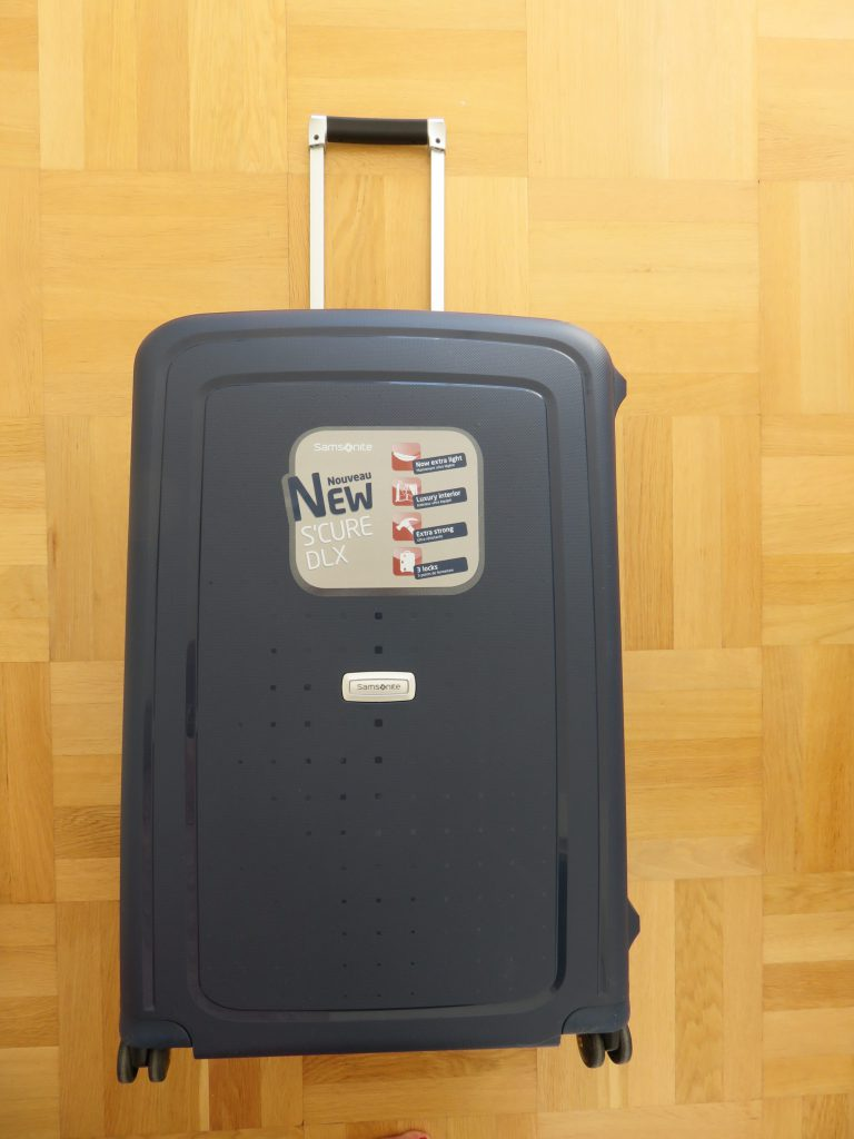 the suitcase with the handle open