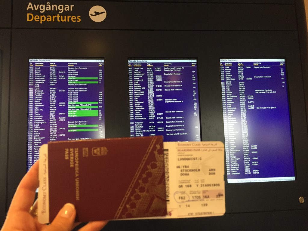 my boarding pass from stockholm to doha