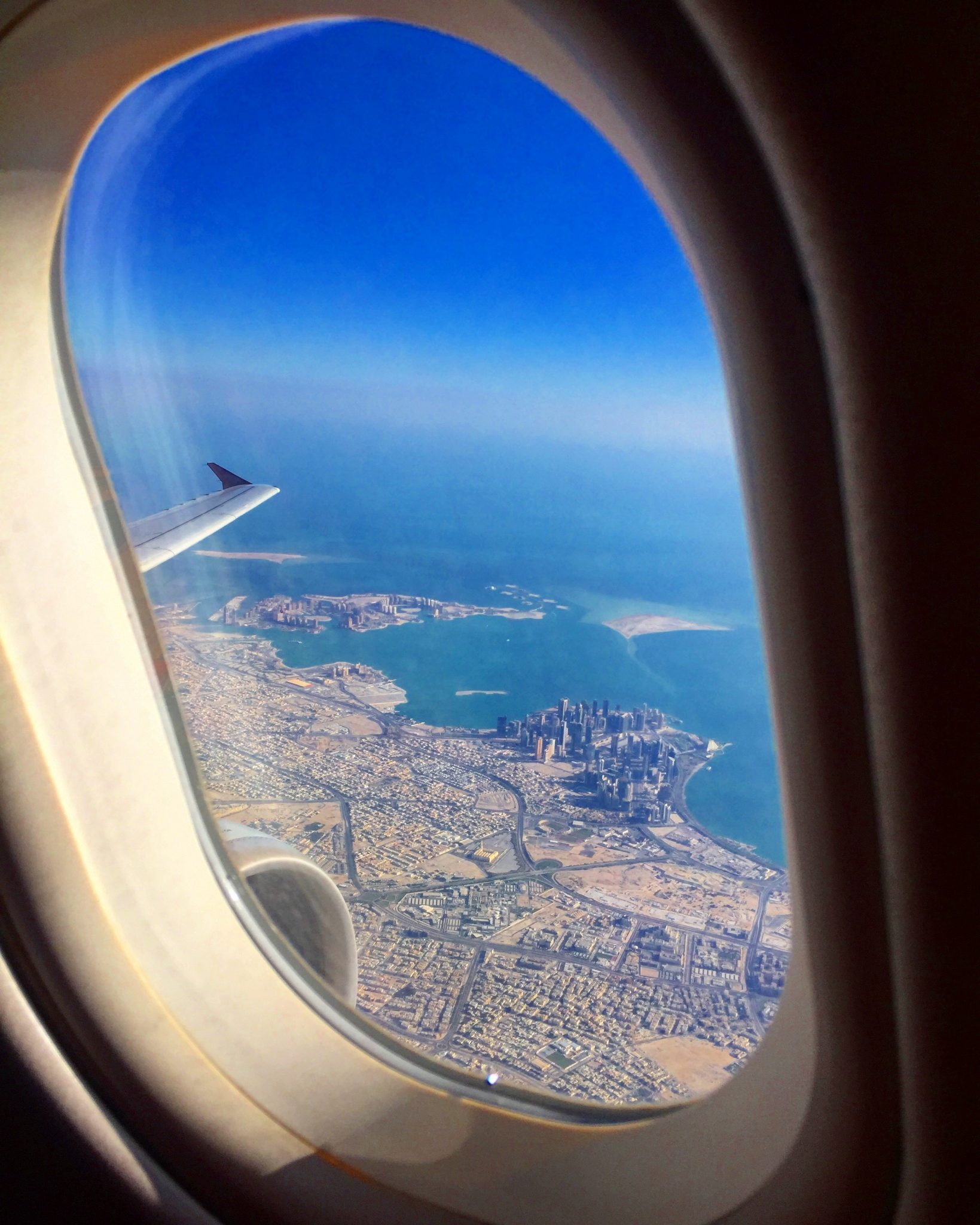 A picture from my window of Doha city after take off