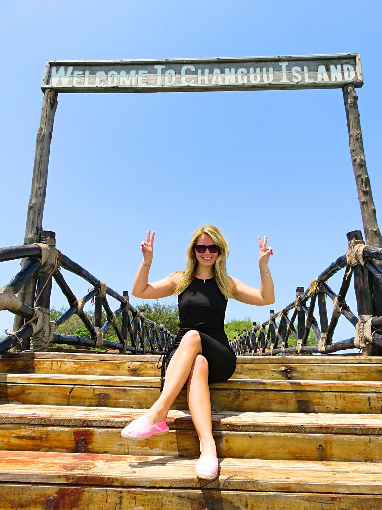a picture of at the entrance sign of Prison Island