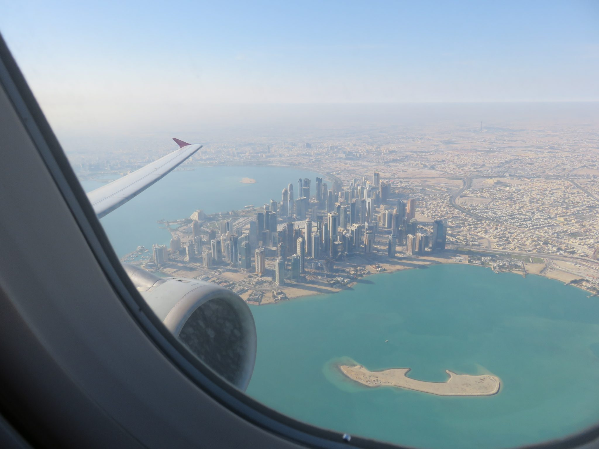 A picture of Doha city from my the window before landing