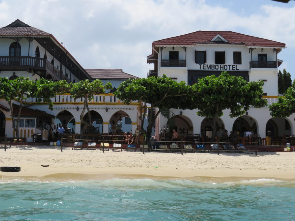 a picture of Tembo hotel from the boat