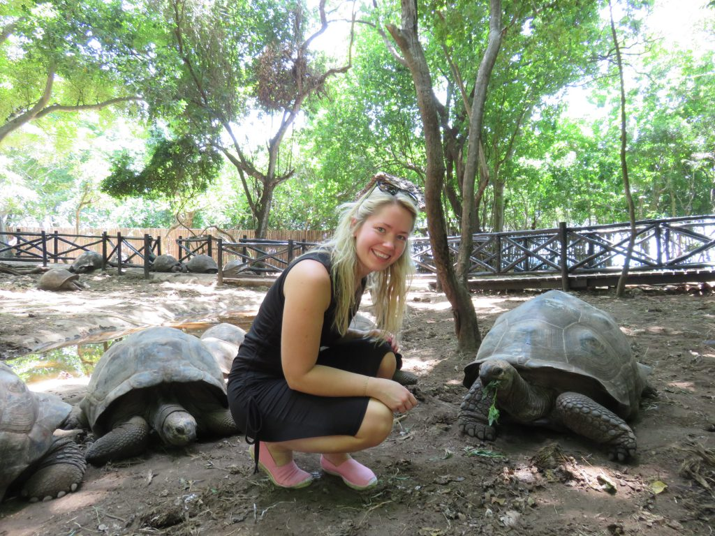 a picture of me with a tortoise