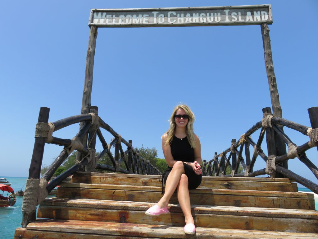another picture of at the entrance sign of Prison Island