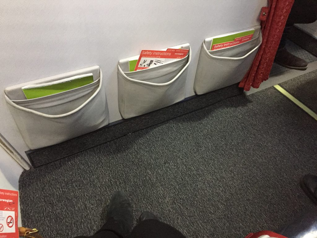 a picture of the leg room in the aircraft