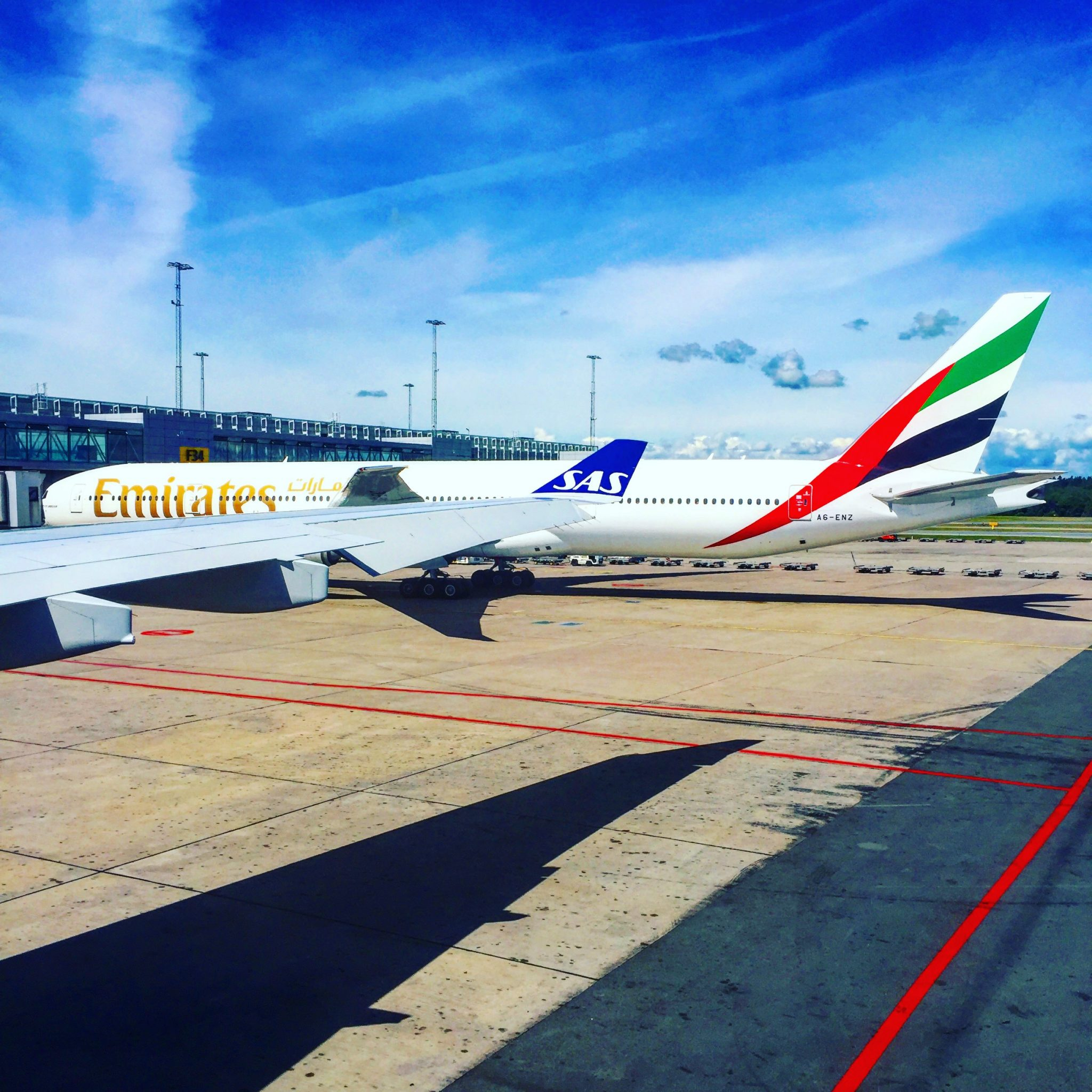 A picture of Emirates airlines at Stockholm Arlanda Airport